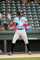 Left fielder Pedro Gonzalez (4) of the Hickory Crawdads at bat during a game against the Greenville Drive on Monday, July 23, 2018, at Fluor Field at the West End in Greenville, South Carolina. Hickory won, 6-1. (Tom Priddy/Four Seam Images)