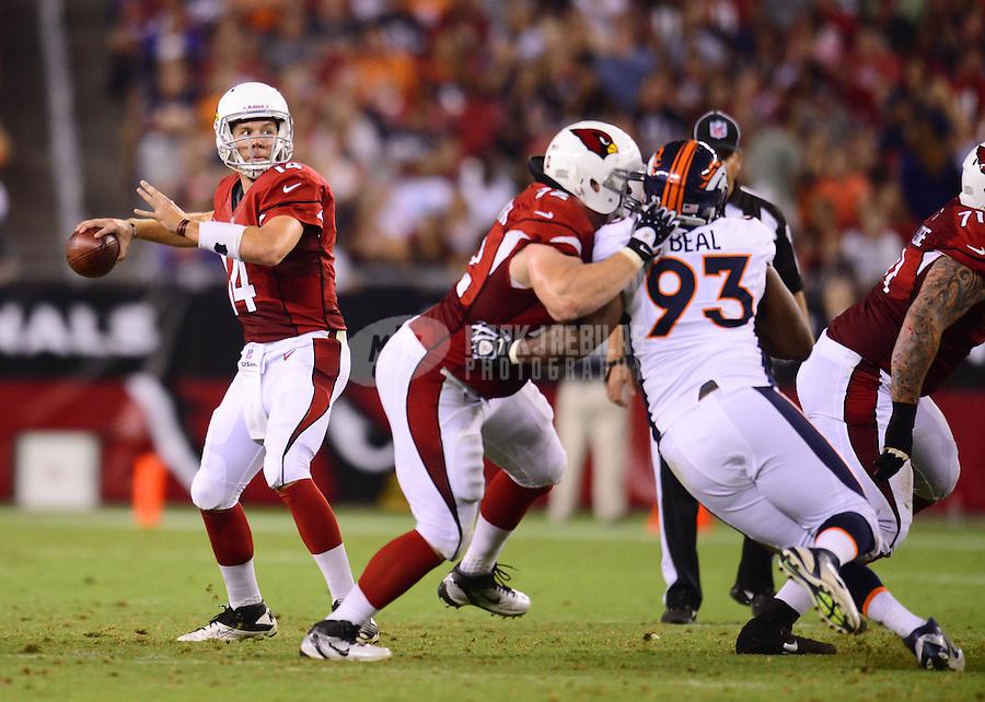 Aug. 30, 2012; Glendale, AZ, USA; Arizona Cardinals quarterback (14) Ryan Lindley throws a pass in the second quarter against the Denver Broncos during a preseason game at University of Phoenix Stadium. Mandatory Credit: Mark J. Rebilas-