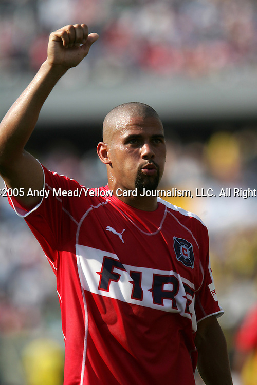 16 July 2005: C.J. Brown salutes Chicago's fans after the game. The Chicago Fire and Columbus Crew tied 1-1 at Soldier Field in Chicago, Illinois in a regular season Major League Soccer game.