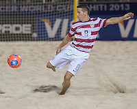 PAPEETE, Tahiti - Saturday September 21, 2013: US Men's National Beach Soccer Team fell to Tahiti 5-3 after extra time in their second game of the group stage at the 2013 Fifa Beach Soccer world Cup in Papeete, Tahiti