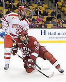 Sean Escobedo (BU - 21), Marshall Everson (Harvard - 21) - The Boston University Terriers defeated the Harvard University Crimson 3-1 in the opening round of the 2012 Beanpot on Monday, February 6, 2012, at TD Garden in Boston, Massachusetts.