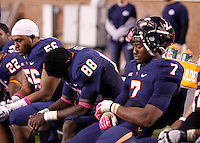 Virginia defensive end Eli Harold (7), defensive end Max Valles (88) and Virginia defensive tackle Andre Miles-Redmond (56) reacts in the final moments of the game against Duke at Scott Stadium in Charlottesville, VA. Duke defeated Virginia 35-22. Photo/Andrew Shurtleff
