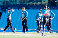 13th March 2020, Sydney Cricket Ground, Sydney, Australia;  Mitchell Santner of the Blackcaps celebrates with teammates after taking the wicket of Steve Smith. International One Day Cricket. Australia versus New Zealand Blackcaps, Chappell–Hadlee Trophy, Game 1.