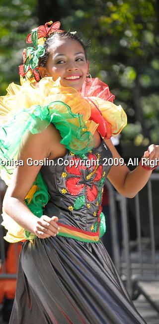 The Hispanic Parade in New York City. A girl representing Colombia in the Hispanic Parade in New York City.