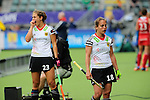 The Hague, Netherlands, June 10: Lisa Altenburg #18 of Germany looks disappointed after leaving the field during the field hockey group match (Women - Group B) between USA and Germany on June 10, 2014 during the World Cup 2014 at Kyocera Stadium in The Hague, Netherlands. Final score 1-3 (0-0) (Photo by Dirk Markgraf / www.265-images.com) *** Local caption *** Lisa Altenburg #18 of Germany, Marie Maevers #23 of Germany