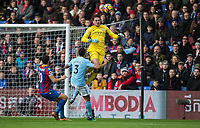 Goalkeeper Claudio Bravo of Manchester City heads clear during a Palace attack during the Premier League match between Crystal Palace and Manchester City at Selhurst Park, London, England on 31 December 2017. Photo by Andy Rowland.