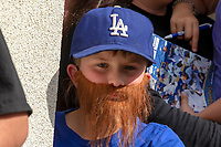 A young Rancho Cucamonga Quakes fan dons a red beard in honor of his favorite Los Angeles Dodger player Justin Turner (31) at LoanMart Field on May 13, 2018 in Rancho Cucamonga, California. The Quakes defeated the Rawhide 3-2.  (Donn Parris/Four Seam Images)