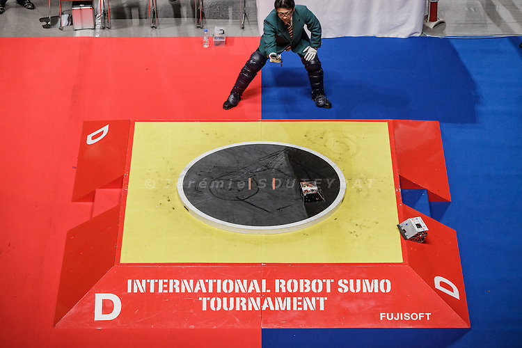 Tokyo, Japan, December 18 2016 - International ROBOT SUMO tournament 2016, held in the Ryogoku Kokugikan, the stadium for sumo tournaments. Part 2: International competition.
