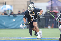 Washington, DC - February 23, 2019: Towson Tigers Alex Woodall (3) wins the faceoff during game between Towson and Georgetown at  Cooper Field in Washington, DC.   (Photo by Elliott Brown/Media Images International)