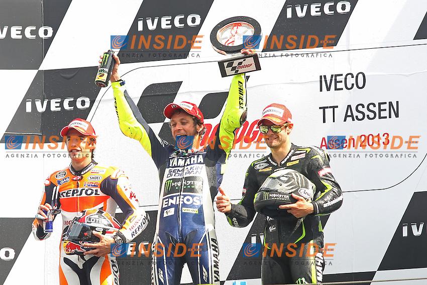 29-06-2013 Assen (NDL)<br /> Motogp world championship<br /> Marc Marquez - Honda Repsol team, Valentino Rossi - Yamaha factory team and Cal Crutchlow - Monster Yamaha Tech3 <br /> Foto Semedia / Insidefoto