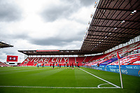 27th June 2020; Bet365 Stadium, Stoke, Staffordshire, England; English Championship Football, Stoke City versus Middlesbrough; Middlesbrough warm up in an empty stadium