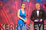Kerry Rose Ann-Marie Hayes chats to presenter Dáithí Ó Sé during the Rose Selection on Monday night at the Dome.