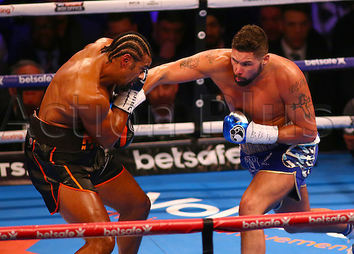 March 4th 2017, O2 Arena, London England; Heavyweight Boxing David Haye versus Tony Bellew; Tony Bellew catches David Haye with a right hook, during the Heavyweight contest
