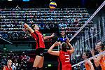 25.08.2018, …VB Arena, Bremen<br />Volleyball, LŠ&auml;nderspiel / Laenderspiel, Deutschland vs. Niederlande<br /><br />Angriff Melanie Schšlzel / Schoelzel (#14 GER), Denise Hanke (#3 GER)<br /><br />  Foto &copy; nordphoto / Kurth