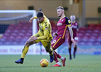 Fleetwood Town's Ched Evans gets away from Bradford City's Jack Payne<br /> <br /> Photographer David Shipman/CameraSport<br /> <br /> The EFL Sky Bet League One - Bradford City v Fleetwood Town - Saturday 9th February 2019 - Valley Parade - Bradford<br /> <br /> World Copyright &copy; 2019 CameraSport. All rights reserved. 43 Linden Ave. Countesthorpe. Leicester. England. LE8 5PG - Tel: +44 (0) 116 277 4147 - admin@camerasport.com - www.camerasport.com
