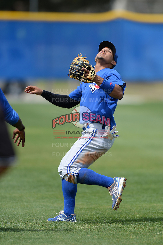 Toronto Blue Jays shortstop Franklin Barreto (16) during a minor league spring training game against the New York Yankees on March 16, 2014 at Englebert Minor League Complex in Dunedin, Florida.  (Mike Janes/Four Seam Images)