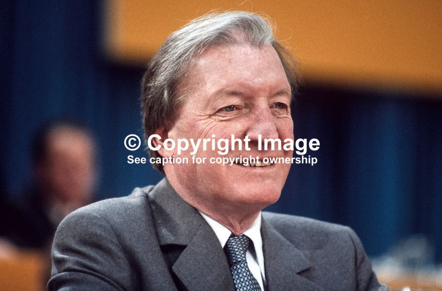 Charles Haughey, TD, leader, Fianna Fail, opposition party, Rep of Ireland, photographed at April 1984 Ard Fheis i.e. party conference, 19840048CH4.<br />