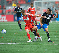 Carl Robinson (33) and Ramiro Corrales (12) in action at BMO Field on July 19, 2008. Final score was 0-0.
