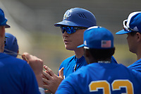 Mars Hill Lions head coach Hunter Bryant addresses his team during the game against the Queens Royals at Intimidators Stadium on March 30, 2019 in Kannapolis, North Carolina. The Royals defeated the Bulldogs 11-6 in game one of a double-header. (Brian Westerholt/Four Seam Images)