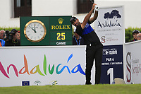 Alvaro Quiros (ESP) tees off the 1st tee during Sunday's storm delayed Final Round 3 of the Andalucia Valderrama Masters 2018 hosted by the Sergio Foundation, held at Real Golf de Valderrama, Sotogrande, San Roque, Spain. 21st October 2018.<br /> Picture: Eoin Clarke | Golffile<br /> <br /> <br /> All photos usage must carry mandatory copyright credit (&copy; Golffile | Eoin Clarke)