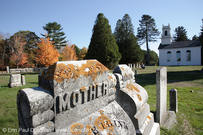 Newington  Town Cemetery during the autumn months. Located in the historical district of Newington, New Hampshire USA, which is part of scenic New England