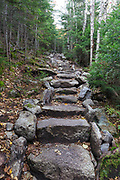 Stone staircase on the Mt Tecumseh Trail in the New Hampshire White Mountains during the autumn months. This stone staircase was built in 2017.