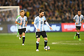 June 9th 2017, Melbourne Cricket Ground, Melbourne, Australia; International Football Friendly; Brazil versus Argentina; Lionel Messi of Argentina runs forward with the ball