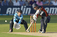 James Foster hits out for Essex as Ben Brown looks on - Essex Eagles vs Sussex Sharks - Friends Life T20 Cricket at the Ford County Ground, Chelmsford, Essex - 28/06/12 - MANDATORY CREDIT: Gavin Ellis/TGSPHOTO - Self billing applies where appropriate - 0845 094 6026 - contact@tgsphoto.co.uk - NO UNPAID USE.