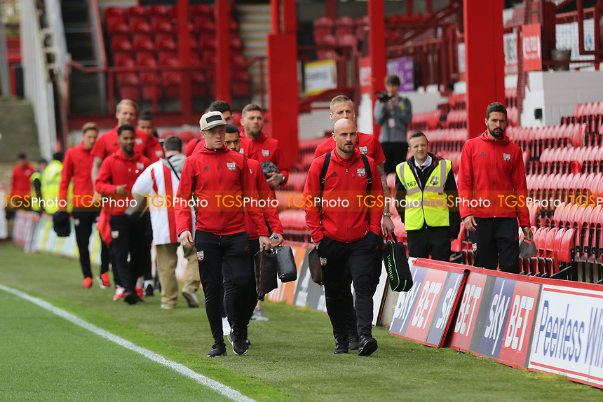 Alan McCormack leads the Brentford players to the dressing room on their arrival at the ground during Brentford vs Derby County, Sky Bet EFL Championship Football at Griffin Park on 14th April 2017