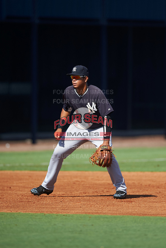 GCL Yankees West third baseman Nelson Gomez (25) during a game against the GCL Yankees East on August 3, 2016 at the Yankees Complex in Tampa, Florida.  GCL Yankees East defeated GCL Yankees West 12-2.  (Mike Janes/Four Seam Images)