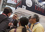 March 3, 2015, Chiba, Japan - A picture released on March 4, 2015 shows visitors tasting wine in the France booth area during the 40th annual International Food and Beverage Exhibition (FOODEX JAPAN 2015). Some 2,977 exhibitors from 79 nations participate in what is known to be the largest food and beverage exhibition in Asia. 75,000 buyers which include wholesalers, food service companies, and distributors are expected to attend FOODEX which runs from March 3-6. (Photo by AFLO)
