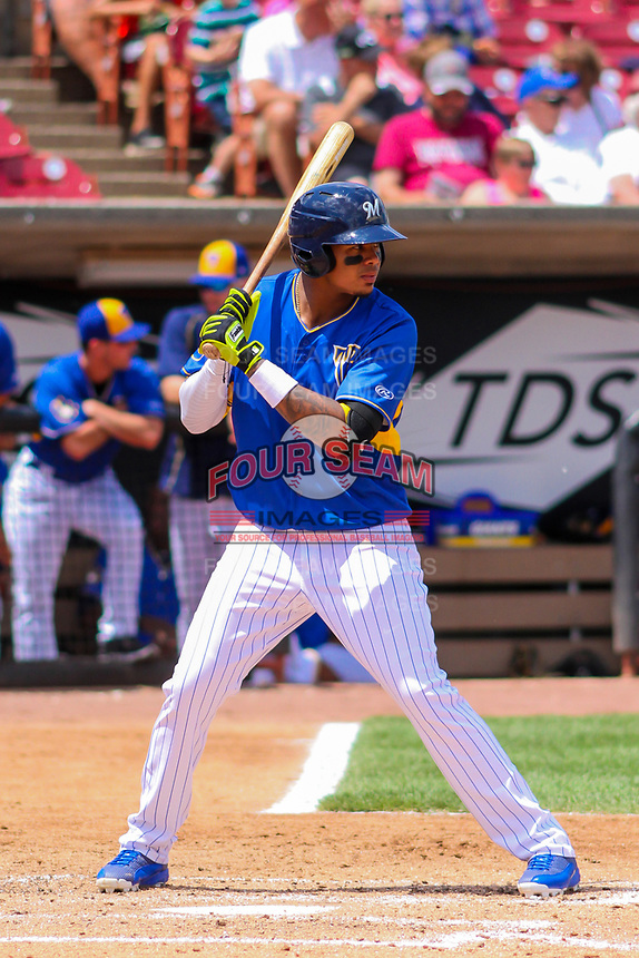 Wisconsin Timber Rattlers third baseman Gilbert Lara (11) at bat during a Midwest League game against the Quad Cities River Bandits on June 27, 2017 at Fox Cities Stadium in Appleton, Wisconsin.  Quad Cities defeated Wisconsin 6-5. (Brad Krause/Four Seam Images)