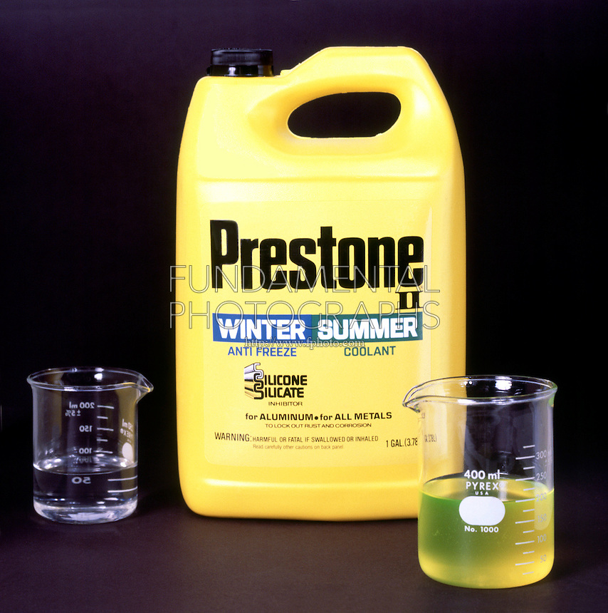 ANTIFREEZE<br /> Ethylene Glycol<br /> A 50-50 mixture of antifreeze and water is homogeneous.