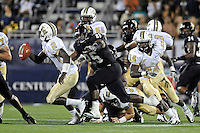 17 September 2011:  FIU linebacker Jordan Hunt (25) chases down UCF quarterback Jeff Godfrey (2) in the second half as the FIU Golden Panthers defeated the University of Central Florida Golden Knights, 17-10, at FIU Stadium in Miami, Florida.