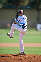 Josh Swales during the WWBA World Championship at the Roger Dean Complex on October 19, 2018 in Jupiter, Florida.  Josh Swales is a right handed pitcher from Porter Ranch, California who attends Grace Brethren High School.  (Mike Janes/Four Seam Images)