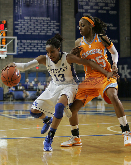 Glory Johnson guards Bria Goss during the game between the University of Kentucky women's basketball team and the University of Tennessee in Memorial Coliseum, on Thursday, Jan. 12, 2012. Photo by Latara Appleby | Staff ..