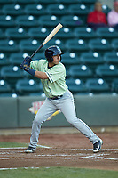 Cristian Perez (11) of the Wilmington Blue Rocks at bat against the Winston-Salem Dash at BB&T Ballpark on April 15, 2019 in Winston-Salem, North Carolina. The Dash defeated the Blue Rocks 9-8. (Brian Westerholt/Four Seam Images)