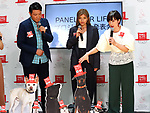"May 22, 2018, Tokyo, Japan - Japan's TV personality Christel Takigawa (R), model Rola (C) and actor Tetsuya Bessho (L) announce Takigawa's animal welfare group ""Christel Vie Essemble Foundation"" will start the new project ""Panel for Life"" to reduce euthanasia of dogs and cats in Tokyo on Tuesday, May 22, 2018. Japan's Princess Tsuguko of Takamado also attended the event.   (Photo by Yoshio Tsunoda/AFLO) LWX -ytd-"