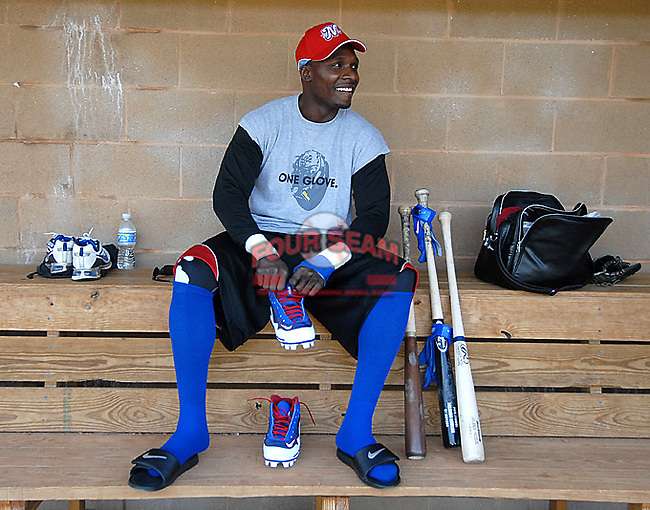 Spartanburg Methodist College grad Orlando Hudson, a Major League All-Star and Gold Glove winner, puts on his gear in the dugout before practice with the SMC baseball team Jan. 19, 2010. Hudson, who played for the Twins in 2010, reportedly will sign a two-year deal with the Padres for 2011-12. Photo by: Tom Priddy/Four Seam Images