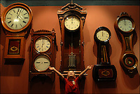 A collection of clocks hang in the Baltimore & Ohio Railroad Museum (B&O Railroad Museum) in Baltimore, Md. Many consider the museum the birthplace of American railroading. The museum offers collections and exhibits throughout its 40-acre site to educate the public about the history of trains and railroads.