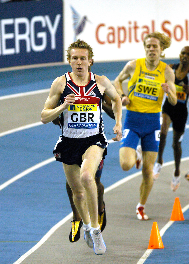 Photo: Richard Lane..Norwich Union International, Glasgow. 27/01/2007. .Great Britain's Richard Hill in the mens 800m.