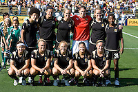 07 June 2009:  FC Gold Pride Starting XI pose together for a group photo before the game against Red Stars at Buck Shaw Stadium in Santa Clara, California.   FC Gold Pride tied Chicago Red Stars, 1-1.