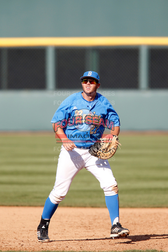Pat Gallagher #27 of the UCLA Bruins plays first base against the California Golden Bears at Jackie Robinson Stadium on March 23, 2013 in Los Angeles, California. (Larry Goren/Four Seam Images)