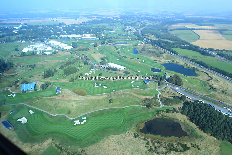 Aerial views of the preparations of the PGA Centenary Course, Gleneagles  ahead of the 2014 Ryder Cup which will be played over the PGA Centenary Course at Gleneagles from 23rd to 28th September 2014: Picture Stuart Adams www.golftourimages.com: 9th September 2014