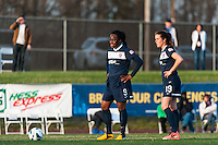 Sky Blue FC forward Danesha Adams (9) and forward Kelley O'Hara (19) contemplate a free kick. Sky Blue FC defeated the Western New York Flash 1-0 during a National Women's Soccer League (NWSL) match at Yurcak Field in Piscataway, NJ, on April 14, 2013.
