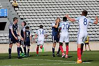 Despair for Scotland as England's  Elliott Embleton (No 14) celebrates scoring their second goal during England Under-18 vs Scotland Under-20, Toulon Tournament Semi-Final Football at Stade Parsemain on 8th June 2017