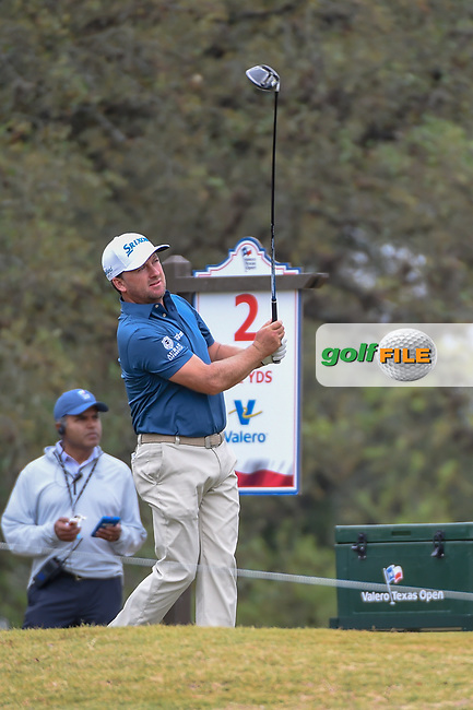 Graeme McDowell (NIR) watches his tee shot on 2 during Round 3 of the Valero Texas Open, AT&T Oaks Course, TPC San Antonio, San Antonio, Texas, USA. 4/21/2018.<br /> Picture: Golffile | Ken Murray<br /> <br /> <br /> All photo usage must carry mandatory copyright credit (© Golffile | Ken Murray)
