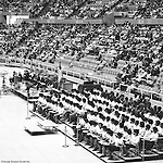 Pittsburgh PA:  View of the choir at the annual Easter Sunrise Services held at the Civic Arena - 1962.  The Council of Churches staged the event that included members of local Catholic, Presbyterian, Lutheran, Baptist and other denominations in the Pittsburgh Area.  This year the the roof was not opened due to weather.<br /> The Council of Churches was a merger of three local groups; Allegheny County Sabbath School Association, the Pittsburgh Council of Churches and the Council of Weekday Religious Education.  The council's objection was to better relate and understand other religions including the local Jewish, African American, Catholic and Christian churches in the downtown Pittsburgh area.
