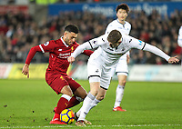 Alex Oxlade-Chamberlain of Liverpool & Alfie Mawson of Swansea City during the Premier League match between Swansea City and Liverpool at the Liberty Stadium, Swansea, Wales on 22 January 2018. Photo by Mark Hawkins / PRiME Media Images.