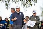 Dane Thomas Bjorn signs autographs for fans as he makes his way to the 7th tee during a practice session at Gleneagles Golf Course, Perthshire. Photo credit should read: Kenny Smith/Press Association Images.
